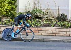 骑自行车者Richie Porte-巴黎尼斯2013年序幕在Houilles 免版税库存照片