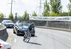 骑自行车者Richie Porte -环法自行车赛2014年 免版税库存图片