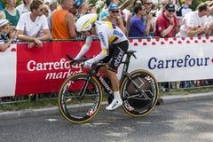 骑自行车者Rigoberto Uran Uran -环法自行车赛2015年 免版税库存照片