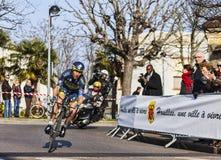 骑自行车者Sorensen尼基巴黎尼斯2013年序幕 免版税库存照片