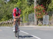 骑自行车者Tiesj Benoot - Criterium du杜法因呢2017年 免版税图库摄影