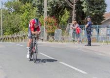 骑自行车者Tiesj Benoot - Criterium du杜法因呢2017年 库存照片