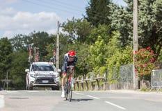 骑自行车者Vegard利益Laengen - Criterium du杜法因呢2017年 免版税图库摄影