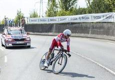 骑自行车者Yury特罗菲莫夫-环法自行车赛2014年 免版税库存图片