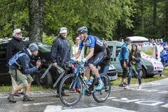 骑自行车者Zakkari Dempster -环法自行车赛2014年 图库摄影