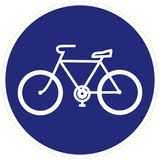 骑自行车足迹,道路,路标,蓝色框架,传染媒介象 库存例证