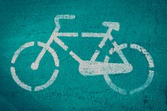 骑自行车路标 免版税库存图片