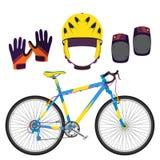 骑自行车,骑自行车设备并且保护在平的样式的齿轮 免版税图库摄影