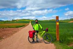 骑自行车571 km的圣詹姆斯方式到圣地亚哥 库存照片