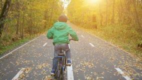 骑蓝色自行车的小男孩在城市公园在秋天 影视素材