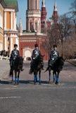 骑马卫兵在莫斯科克里姆林宫,俄罗斯 库存图片