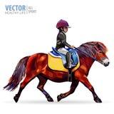 骑马的男孩骑师 马 小马俱乐部 跳马球车手的驯马骑马马马现出轮廓体育运动向量 H 免版税库存照片