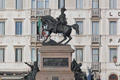 骑马胜者伊曼纽尔II威尼斯 库存照片
