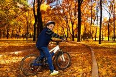 骑马自行车在秋天公园 免版税库存照片
