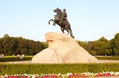 骑马雕象彼得大帝(古铜色御马者) Th的 免版税库存图片