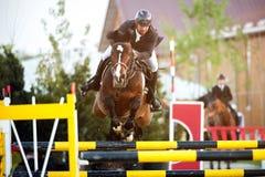 骑马马车手跳跃 生动描述显示执行在跳跃赛中的竞争者 免版税库存照片