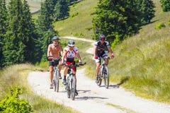 骑登山车的三个骑自行车者在晴天在山路,罗马尼亚 免版税库存照片