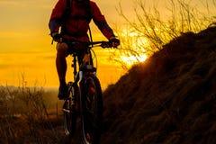 骑登山车的Enduro骑自行车者剪影在岩石足迹在日落 有效的生活方式概念 文本的空间 库存图片