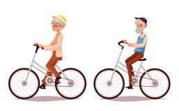 骑他们的自行车的年长夫妇 库存例证