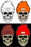 头骨冬天帽子与4变异颜色的手图画 库存例证
