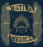 头骨印第安酋长手图画样式 免版税库存图片