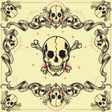 头骨和丝带框架 库存例证