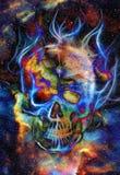 头骨和分数维作用 彩色空间背景 免版税库存照片
