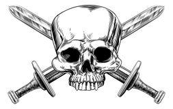 头骨和十字架剑木刻 向量例证