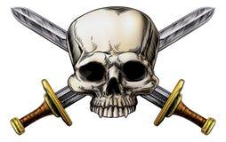 头骨和十字架剑标志 皇族释放例证