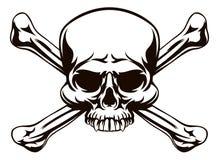 头骨和十字架骨头标志 库存例证