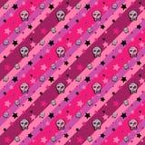 头骨和星无缝的emo样式 库存图片