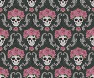 头骨和玫瑰锦缎样式 免版税库存照片