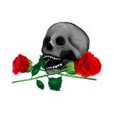 头骨和玫瑰 库存照片