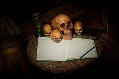 头骨和笔记本在老木头 免版税图库摄影