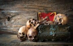 头骨和箱子在木背景 免版税库存图片