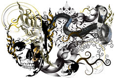 头骨和纹身花刺艺术 库存图片