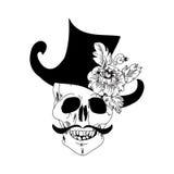 头骨和罗斯纹身花刺 免版税库存照片