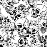 头骨和花无缝的背景 免版税库存图片