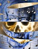 头骨和音乐笔记 在火火焰的头骨 颜色抽象背景,计算机拼贴画 库存图片