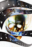 头骨和音乐笔记 在火火焰的头骨 颜色 免版税库存图片