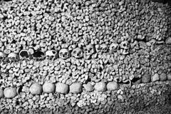 头骨和骨头-可怕头骨和骨头在巴黎地下墓穴  免版税图库摄影