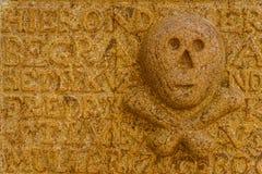 头骨和骨头在墓碑 免版税库存图片