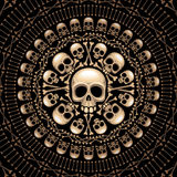 头骨和骨头玫瑰华饰 免版税库存图片