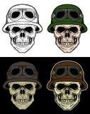 头骨战士与4变异颜色的手图画 向量例证