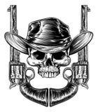 头骨牛仔帽和枪 库存例证