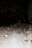 骨骼在小船棚子,赫库兰尼姆考古学站点,褶皱藻属,意大利 图库摄影