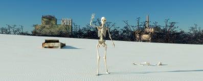 骨骼在沙漠 皇族释放例证