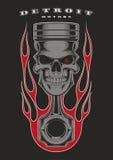 头骨活塞骑自行车的人象征 库存例证