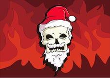 骨头头穿戴圣诞老人帽子 图库摄影