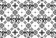 头骨与鸢尾花的Argyle样式 免版税库存照片